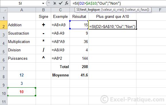 dollar - excel fonction si recopie formules