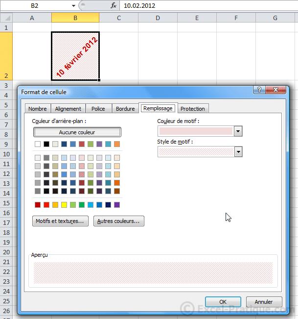 format remplissage - excel format et mise en forme