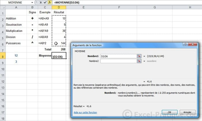 fonction moyenne - excel formules calculs fonctions