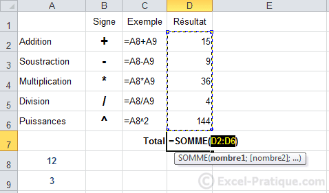 fonction somme - excel formules calculs fonctions