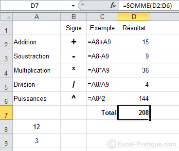 resultat somme - excel formules calculs fonctions