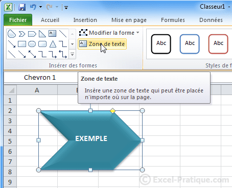 ajout texte - excel insertion formes