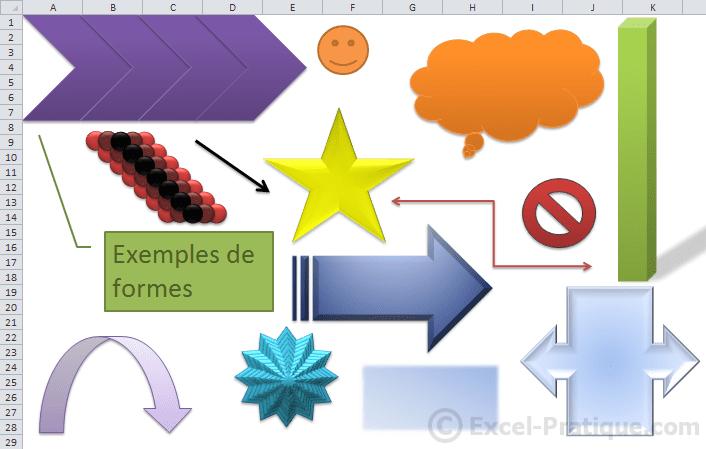 exemples de formes - excel insertion formes