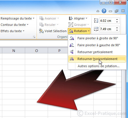 rotation forme - excel insertion formes