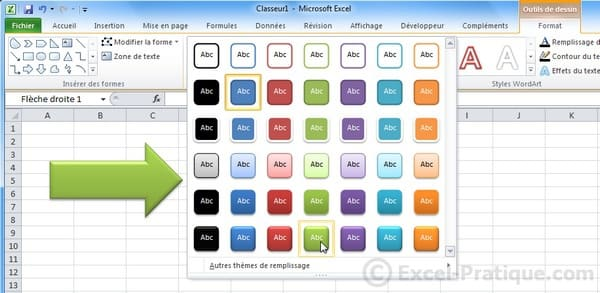 styles predefinis - excel insertion formes