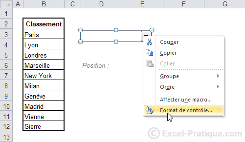 format liste deroulante excel