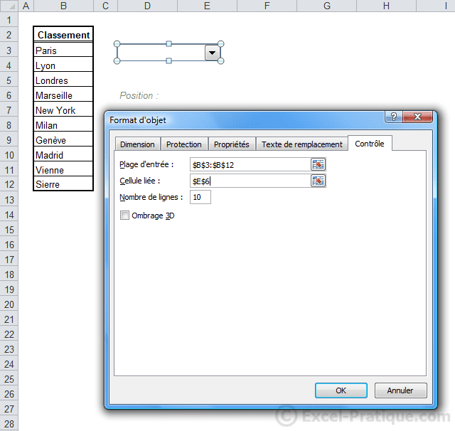 format liste deroulante2 excel deroulante
