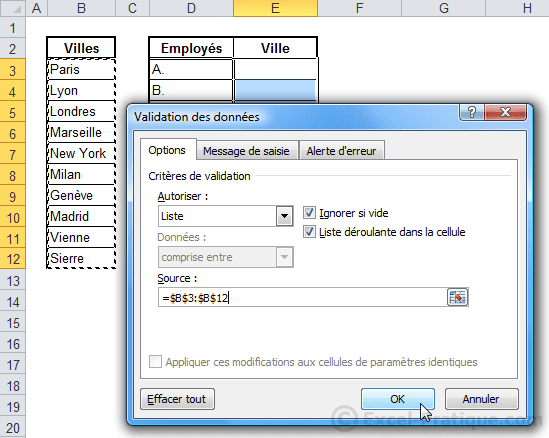 validation donnees - excel listes deroulantes validation