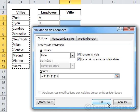 validation donnees - excel listes deroulantes validation