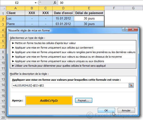 mfc date - excel mises en forme conditionnelles exemples