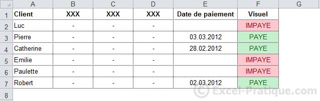 mfc paye impaye - excel mises en forme conditionnelles exemples