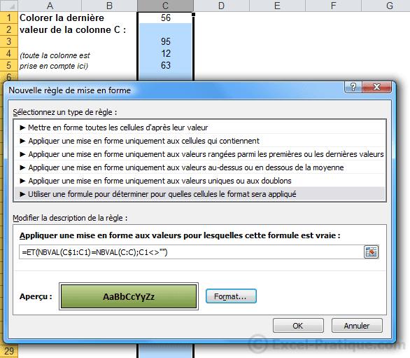 mfc derniere valeur colonne - excel mises en forme conditionnelles exemples3