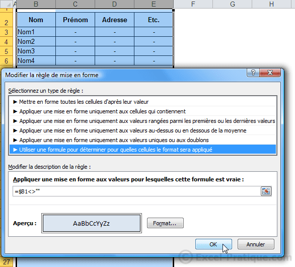 mfc quadrillage - excel mises en forme conditionnelles exemples3