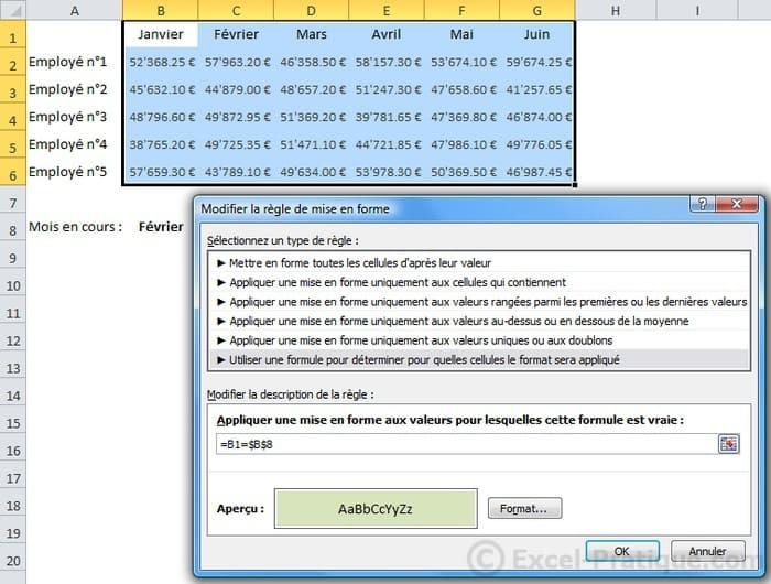 formule - excel mises en forme conditionnelles sur mesure