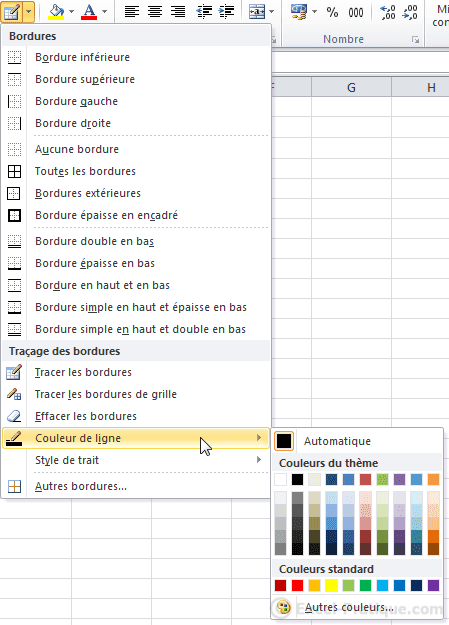 couleur traits - excel tableaux bordures