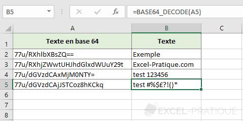 fonction excel base 64 decode base64