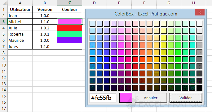 colorbox choix couleurs excel vba