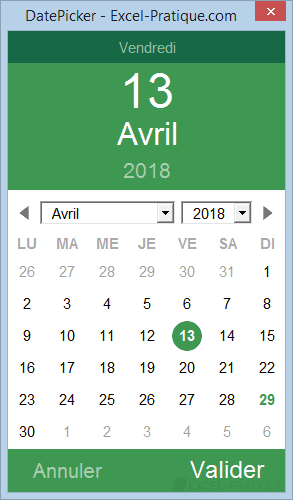 Fonction VBA : DatePicker
