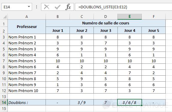 fonction excel liste doublons