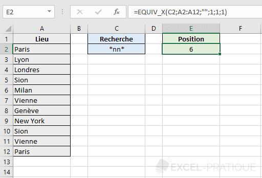 fonction excel equiv metacaracteres x