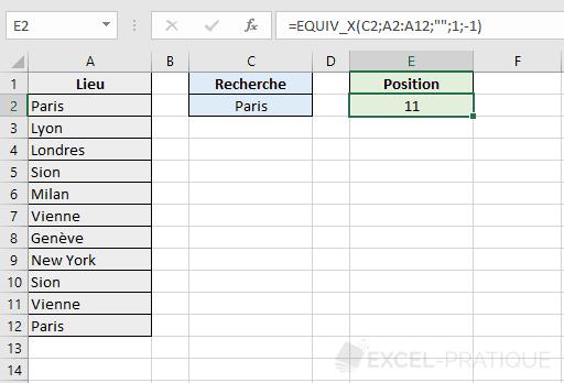 fonction excel equiv sens recherche x