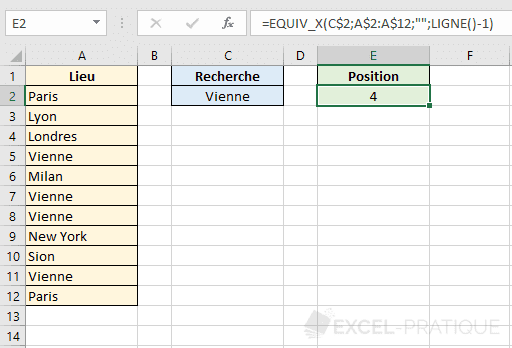 fonction excel equiv tableau x