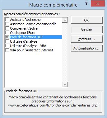 macro complementaire liste installation macros complementaires