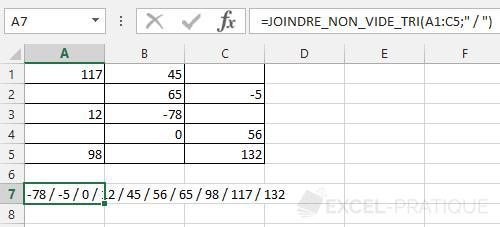 fonction excel assembler trier nombres joindre non vide tri
