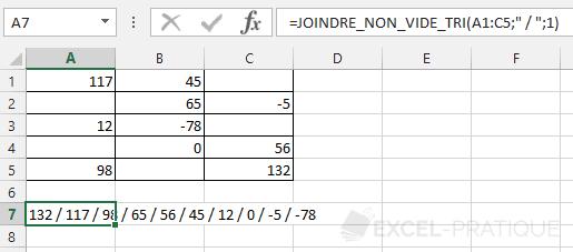 fonction excel trier nombres decroissant joindre non vide tri