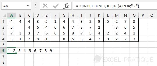fonction excel joindre unique tri chiffres