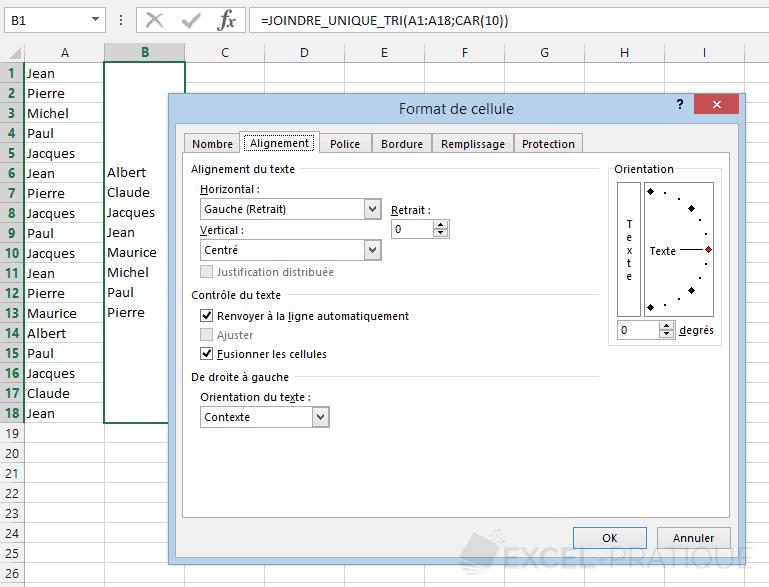 fonction excel valeurs uniques tri joindre unique