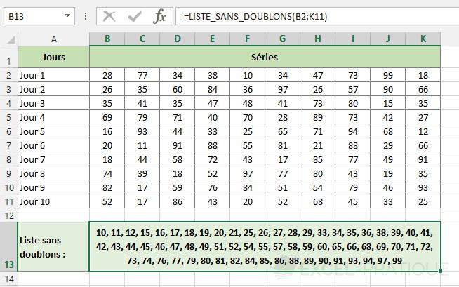 fonction excel liste sans doublons