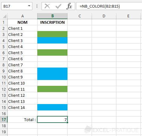 fonction excel nombre cellules colorees nb colore