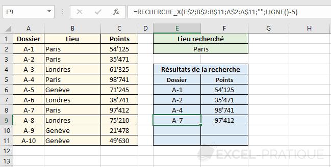 fonction excel recherchex tableau resultats recherche x
