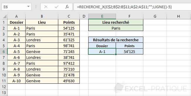 fonction excel recherchex tableau recherche x