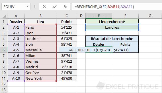 fonction excel recherchex recherche x