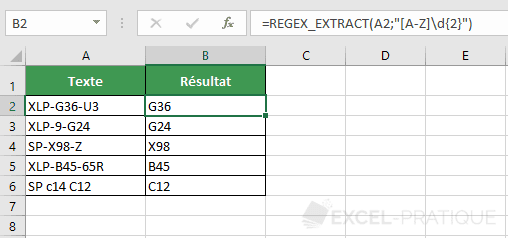 fonction excel regex extract numero reference