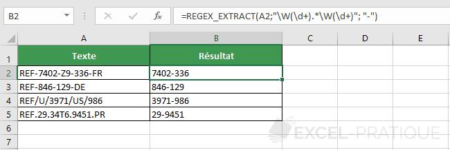 fonction excel regex extract numeros