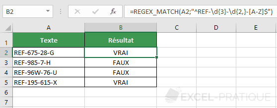 fonction excel regex match tester structure ref