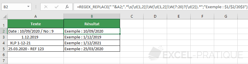 fonction excel regex replace dates texte