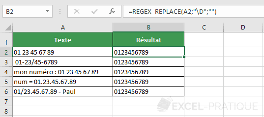 fonction excel regex replace numero telephone