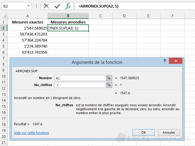 fonction excel arrondi sup exemple