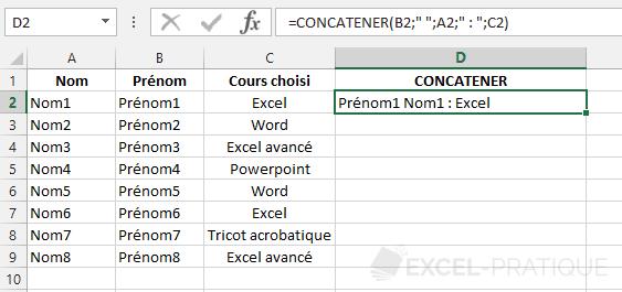 fonction excel concatener texte