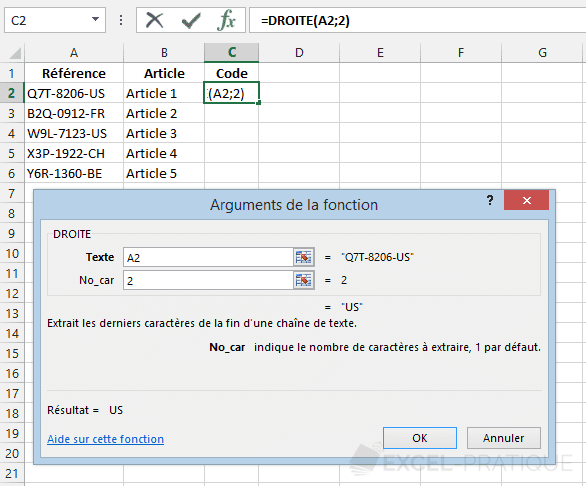 fonction excel droite recuperer code