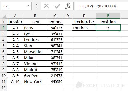 fonction excel equiv position liste