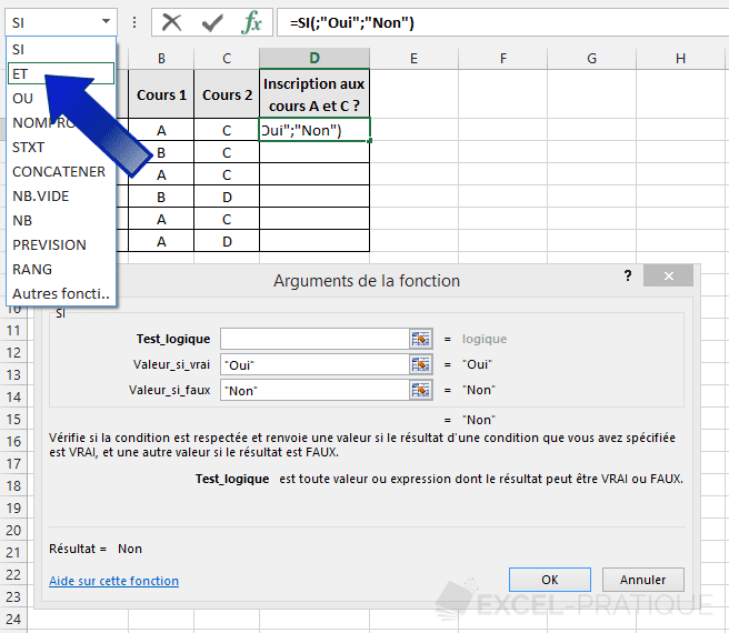 fonction excel et si imbrication