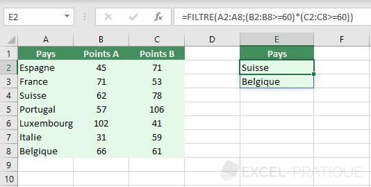excel fonction filtre plusieurs criteres
