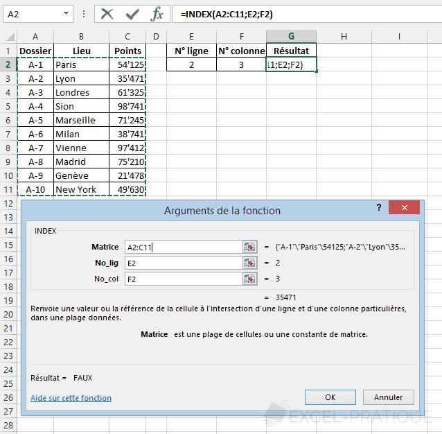 fonction excel index tableau