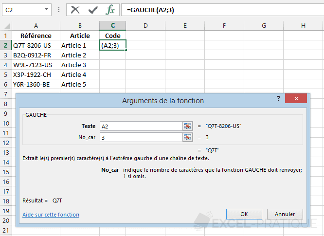 fonction excel gauche recuperer code