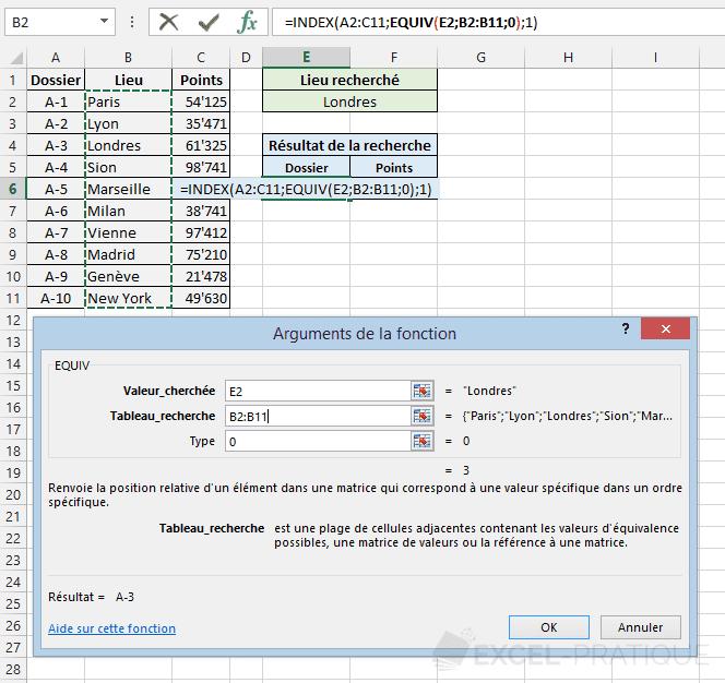 fonction excel index equiv position